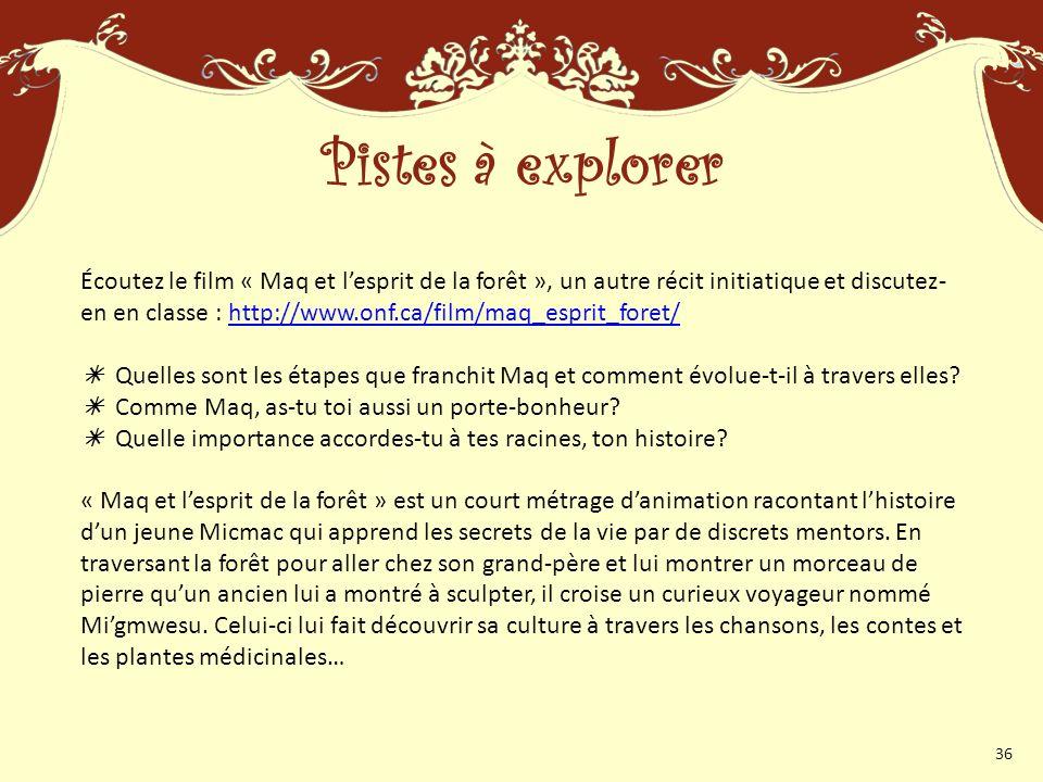 Écoutez le film « Maq et lesprit de la forêt », un autre récit initiatique et discutez- en en classe : http://www.onf.ca/film/maq_esprit_foret/http://www.onf.ca/film/maq_esprit_foret/ Quelles sont les étapes que franchit Maq et comment évolue-t-il à travers elles.