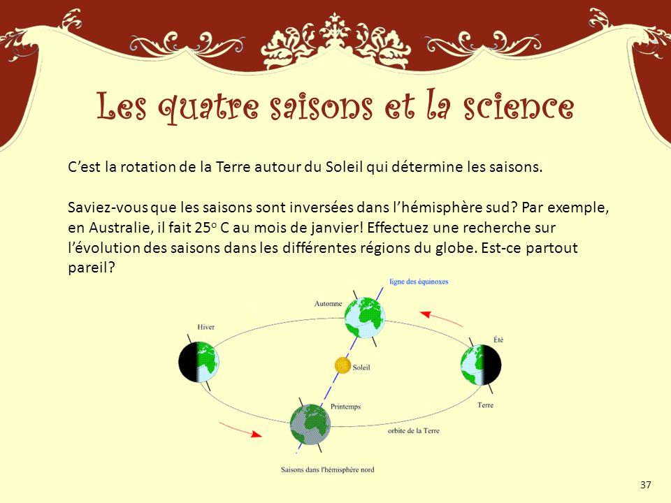 Cest la rotation de la Terre autour du Soleil qui détermine les saisons.