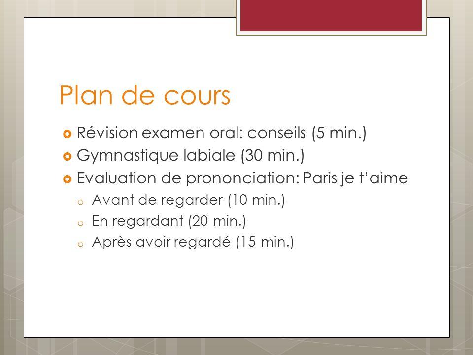 Plan de cours Révision examen oral: conseils (5 min.) Gymnastique labiale (30 min.) Evaluation de prononciation: Paris je taime o Avant de regarder (1