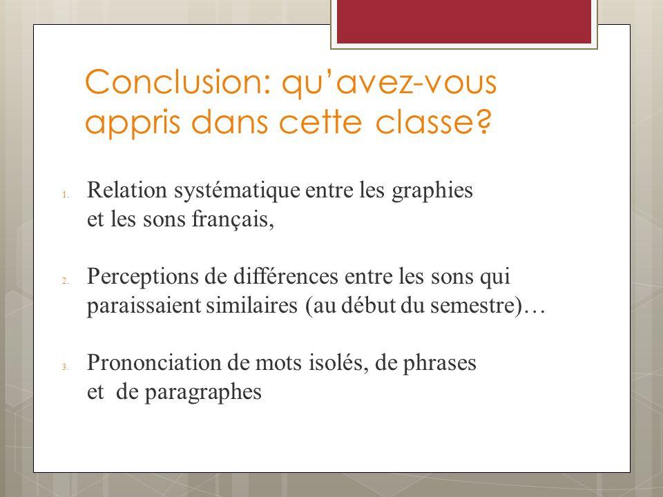 Conclusion: quavez-vous appris dans cette classe? 1.Relation systématique entre les graphies et les sons français, 2.Perceptions de différences entre