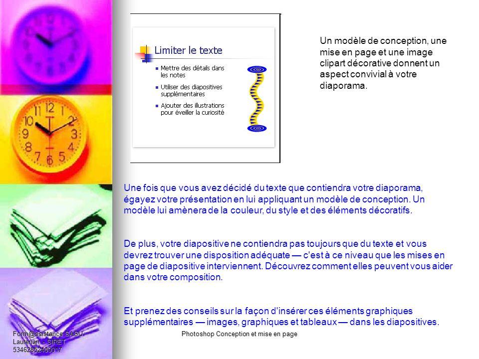 Un modèle de conception, une mise en page et une image clipart décorative donnent un aspect convivial à votre diaporama.
