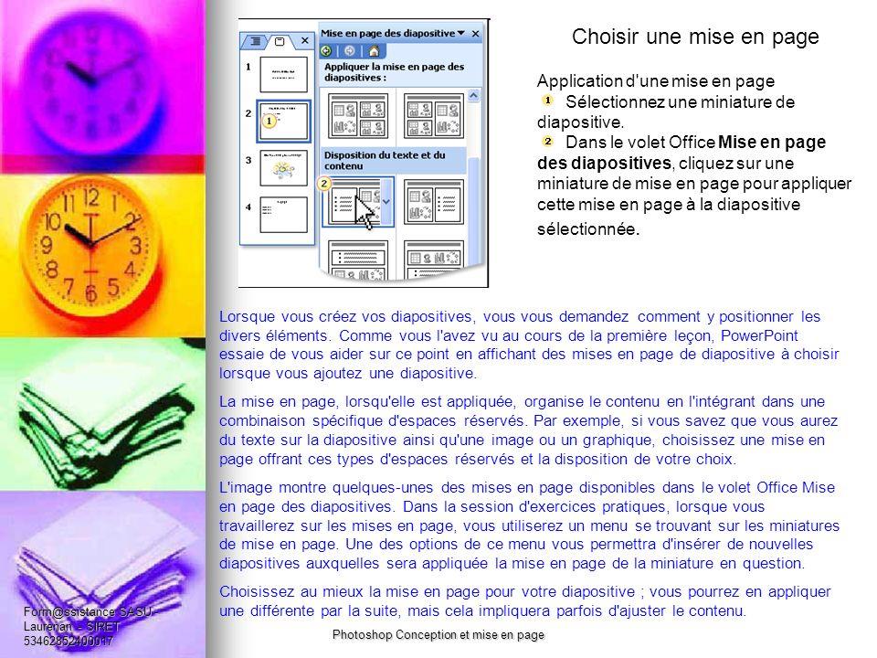 Choisir une mise en page Application d une mise en page Sélectionnez une miniature de diapositive.