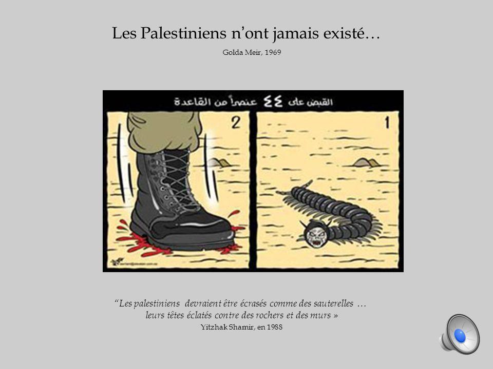 Les Palestiniens nont jamais existé… Golda Meir, 1969 Les palestiniens devraient être écrasés comme des sauterelles … leurs têtes éclatés contre des rochers et des murs » Yitzhak Shamir, en 1988