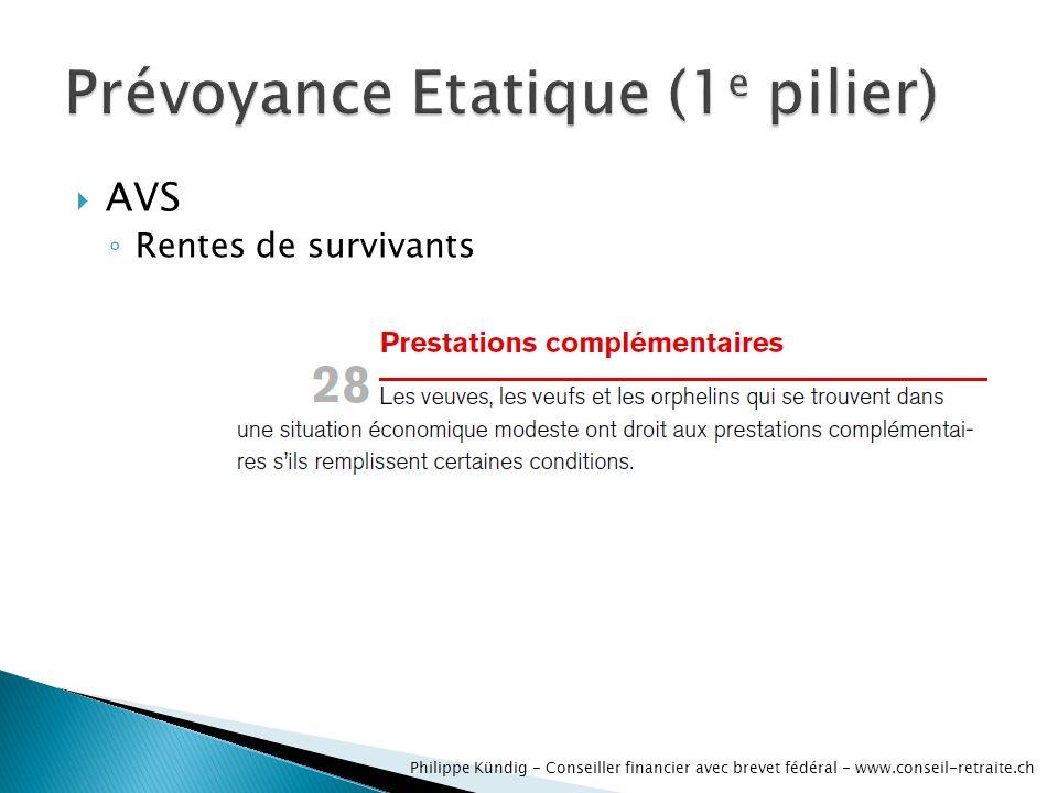 AVS dinvalidité Rentes de survivants Philippe Kündig - Conseiller financier avec brevet fédéral - www.conseil-retraite.ch