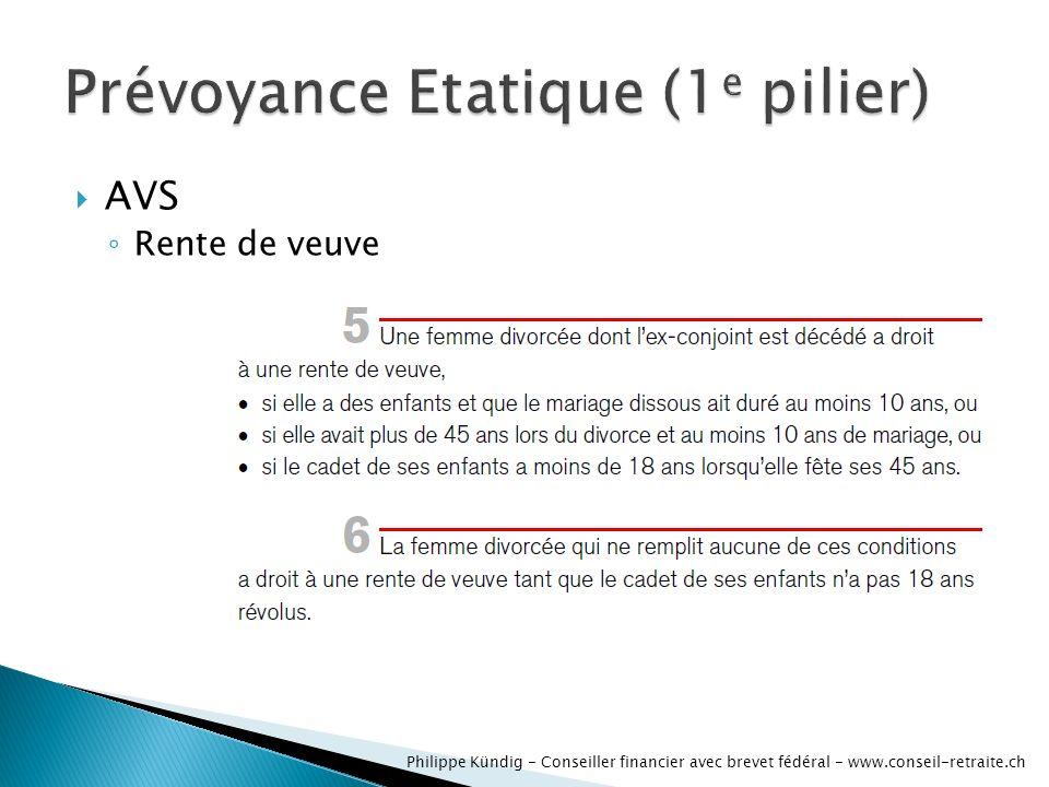 AVS dinvalidité Rente de veuve Philippe Kündig - Conseiller financier avec brevet fédéral - www.conseil-retraite.ch