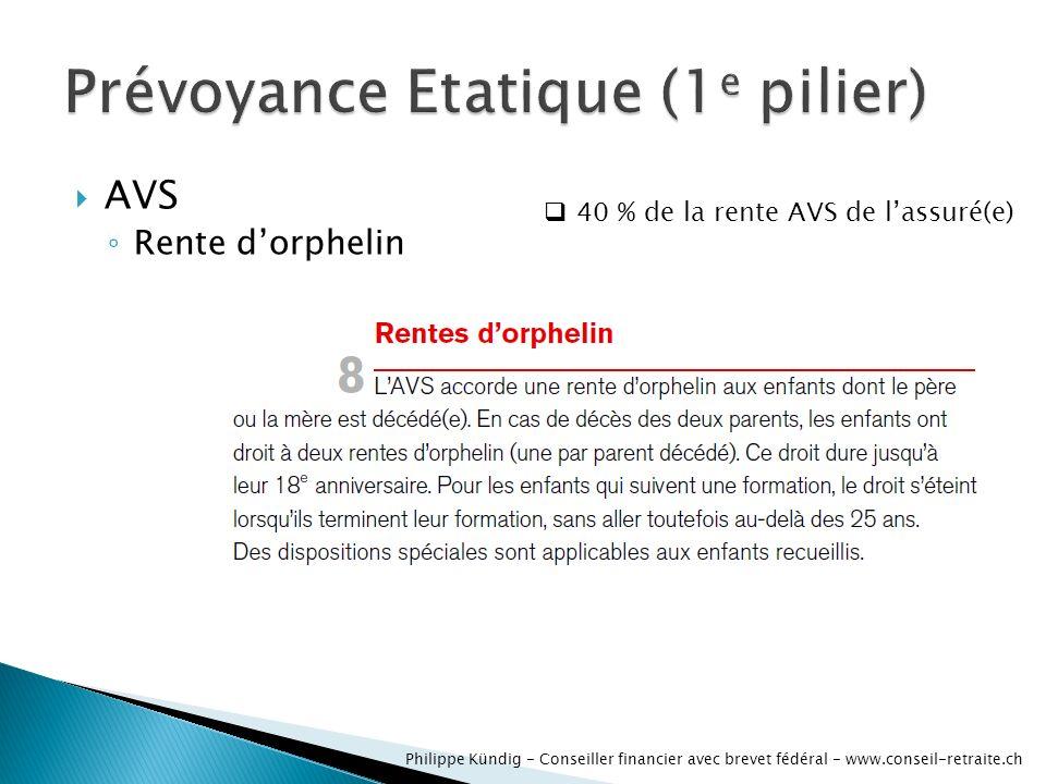 AVS dinvalidité Rente dorphelin Philippe Kündig - Conseiller financier avec brevet fédéral - www.conseil-retraite.ch 40 % de la rente AVS de lassuré(e)