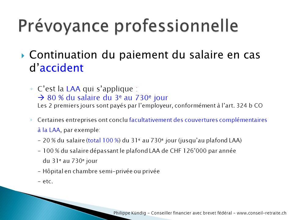 Continuation du paiement du salaire en cas daccident Cest la LAA qui sapplique : 80 % du salaire du 3 e au 730 e jour Les 2 premiers jours sont payés par lemployeur, conformément à lart.