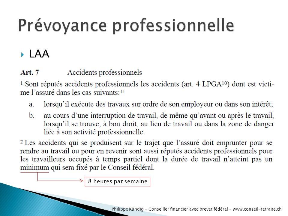 LAA Philippe Kündig - Conseiller financier avec brevet fédéral - www.conseil-retraite.ch 8 heures par semaine