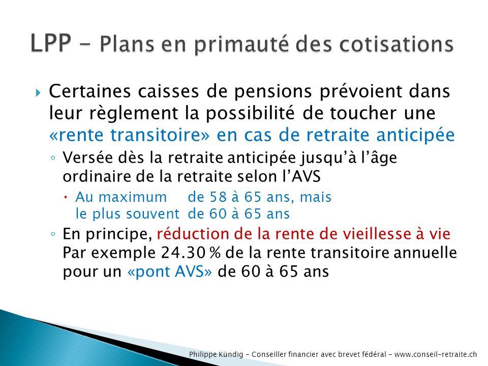 Certaines caisses de pensions prévoient dans leur règlement la possibilité de toucher une «rente transitoire» en cas de retraite anticipée Versée dès la retraite anticipée jusquà lâge ordinaire de la retraite selon lAVS Au maximum de 58 à 65 ans, mais le plus souventde 60 à 65 ans En principe, réduction de la rente de vieillesse à vie Par exemple 24.30 % de la rente transitoire annuelle pour un «pont AVS» de 60 à 65 ans Philippe Kündig - Conseiller financier avec brevet fédéral - www.conseil-retraite.ch