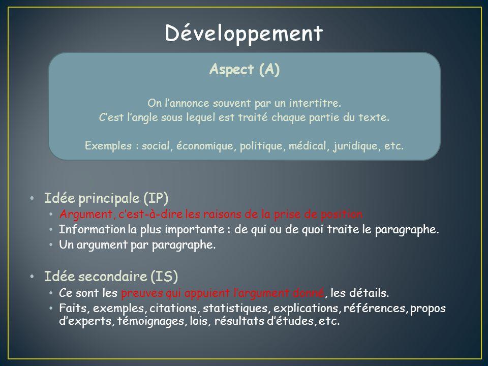 Aspect (A) On lannonce souvent par un intertitre.