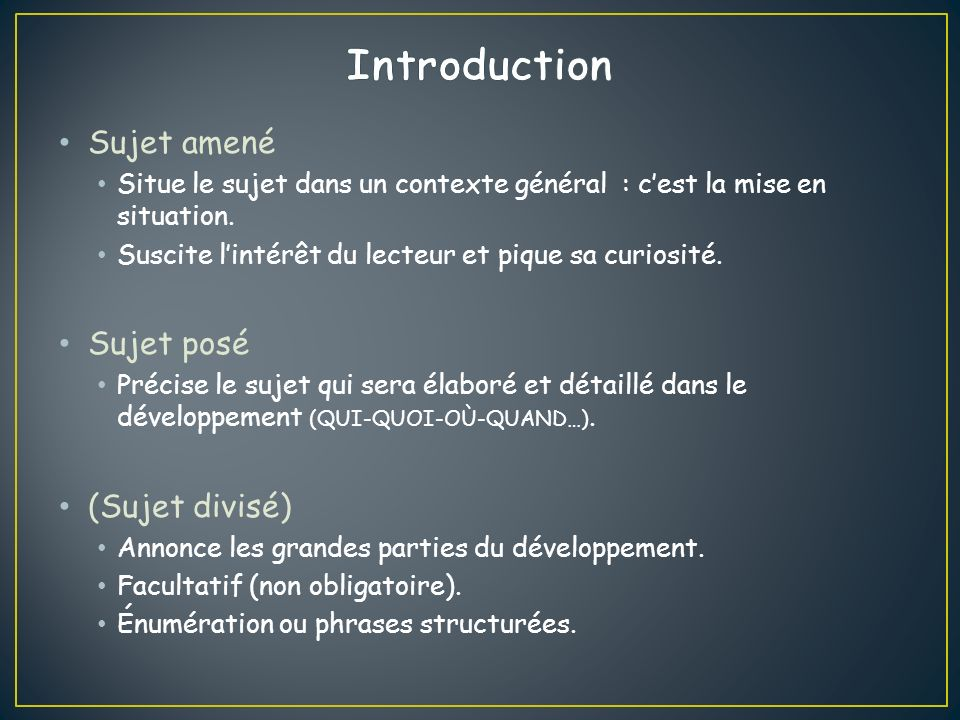 Aspect (A) On lannonce souvent par un intertitre.