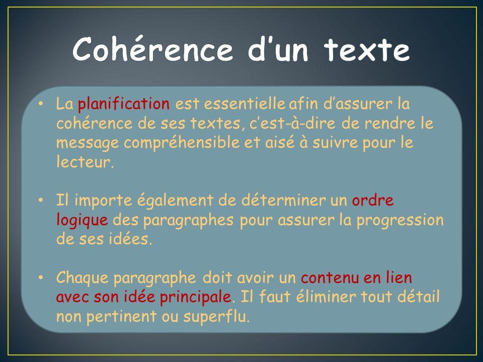 La planification est essentielle afin dassurer la cohérence de ses textes, cest-à-dire de rendre le message compréhensible et aisé à suivre pour le lecteur.