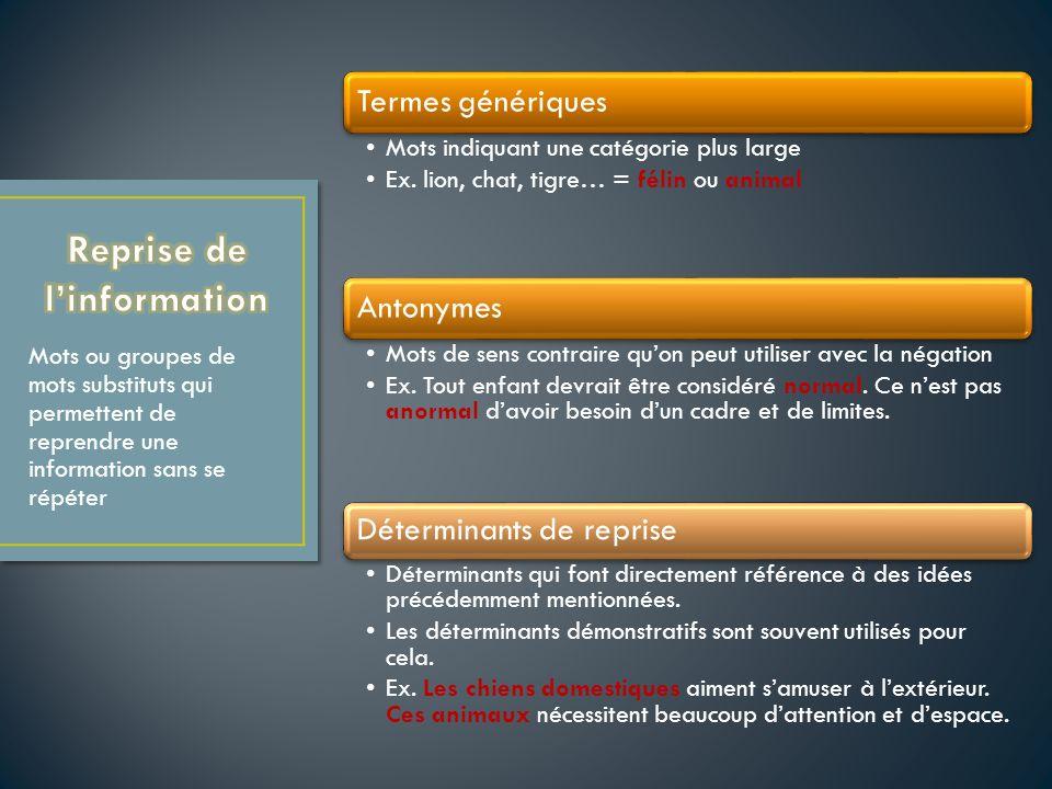 Termes génériques Mots indiquant une catégorie plus large Ex.
