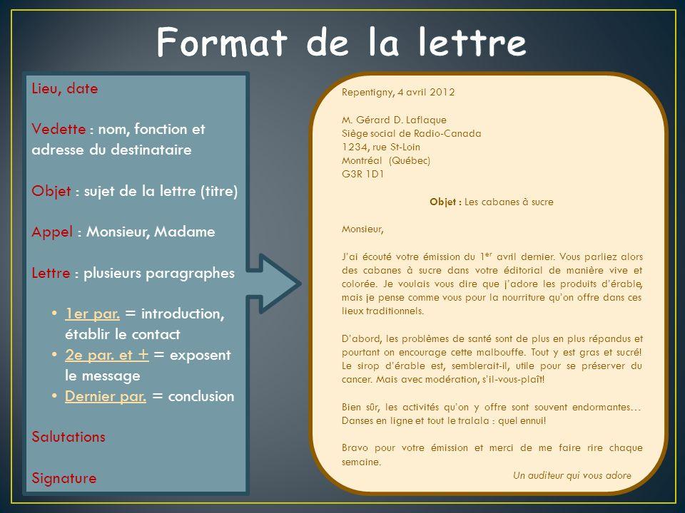 Lieu, date Vedette : nom, fonction et adresse du destinataire Objet : sujet de la lettre (titre) Appel : Monsieur, Madame Lettre : plusieurs paragraphes 1er par.