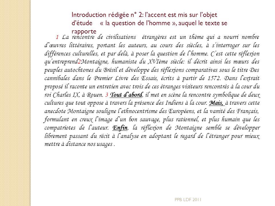 Avant de rédiger lintroduction, il faut avoir compris le sens du texte, et avoir déterminé les directions de létude PPB LDF 2011