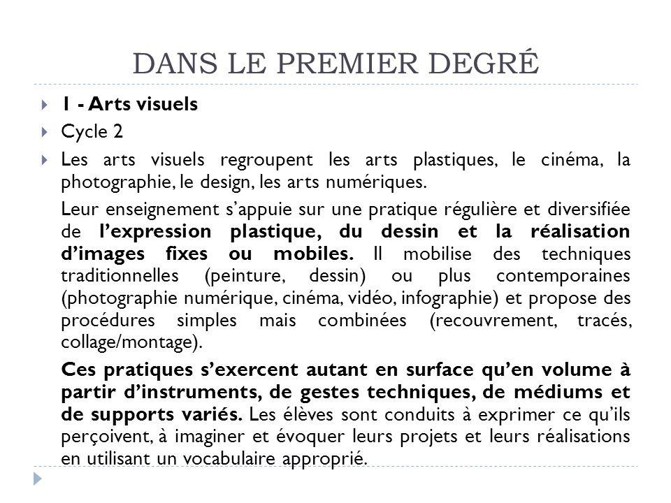 DANS LE PREMIER DEGRÉ 1 - Arts visuels Cycle 2 Les arts visuels regroupent les arts plastiques, le cinéma, la photographie, le design, les arts numéri