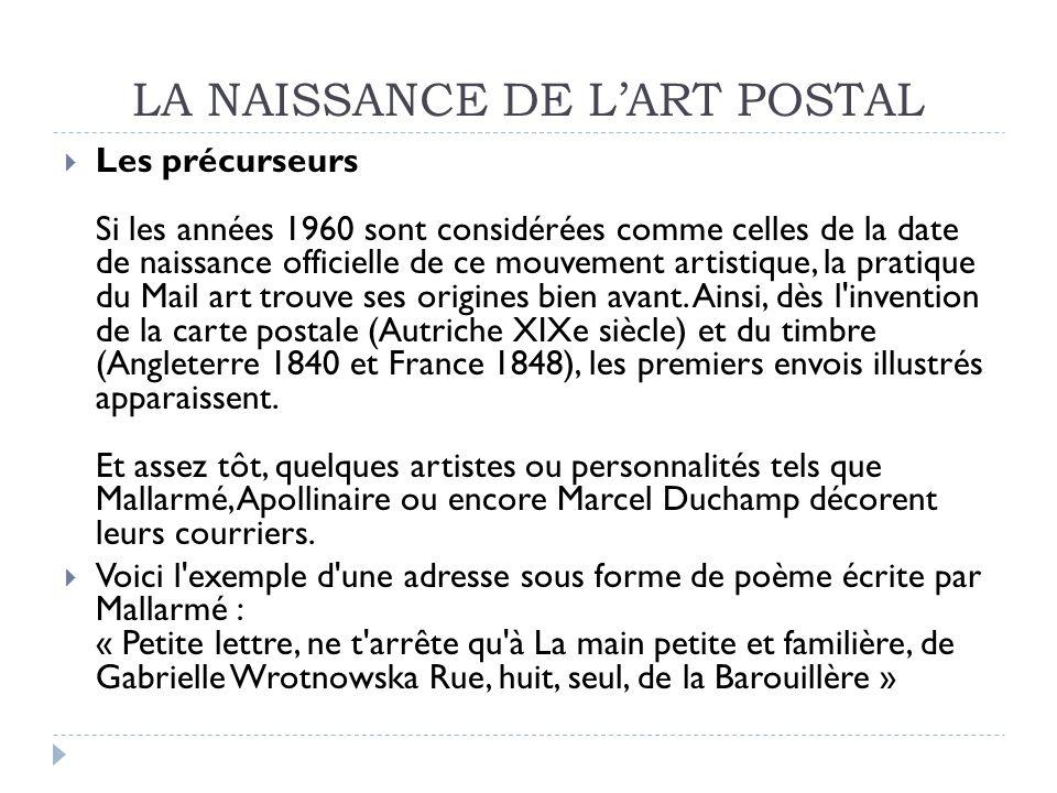 DEMARCHES DARTISTES Cosette de CHARMOY, envois postaux