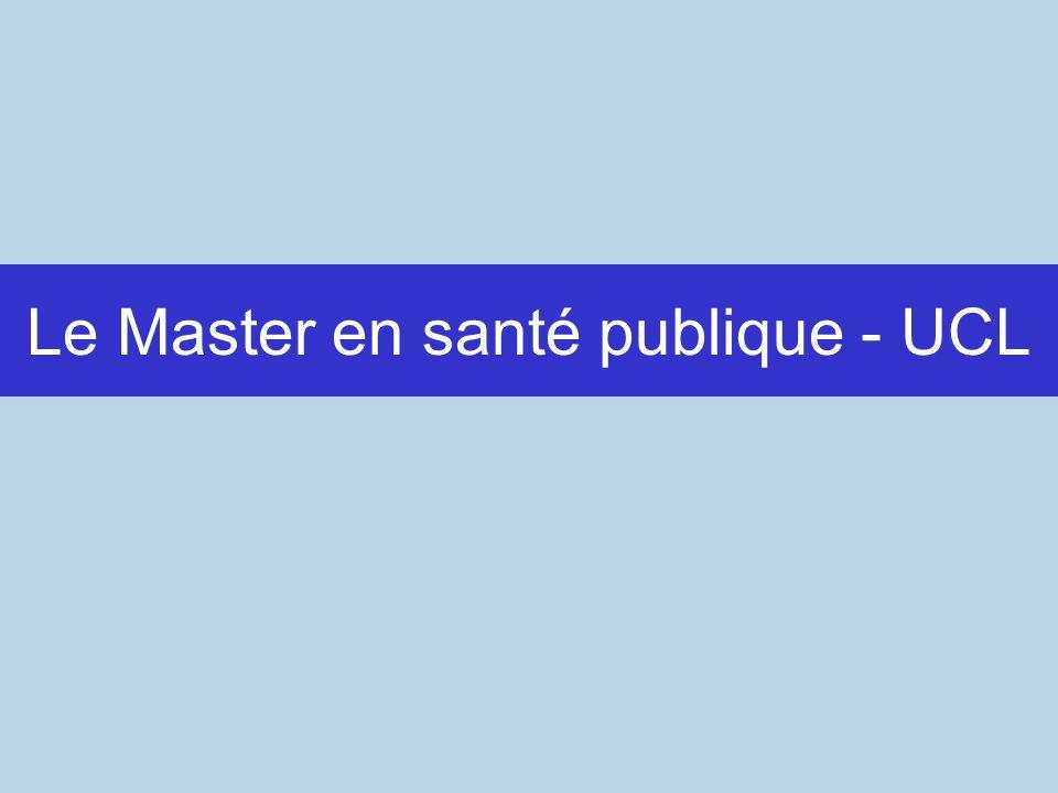 Le Master en santé publique - UCL