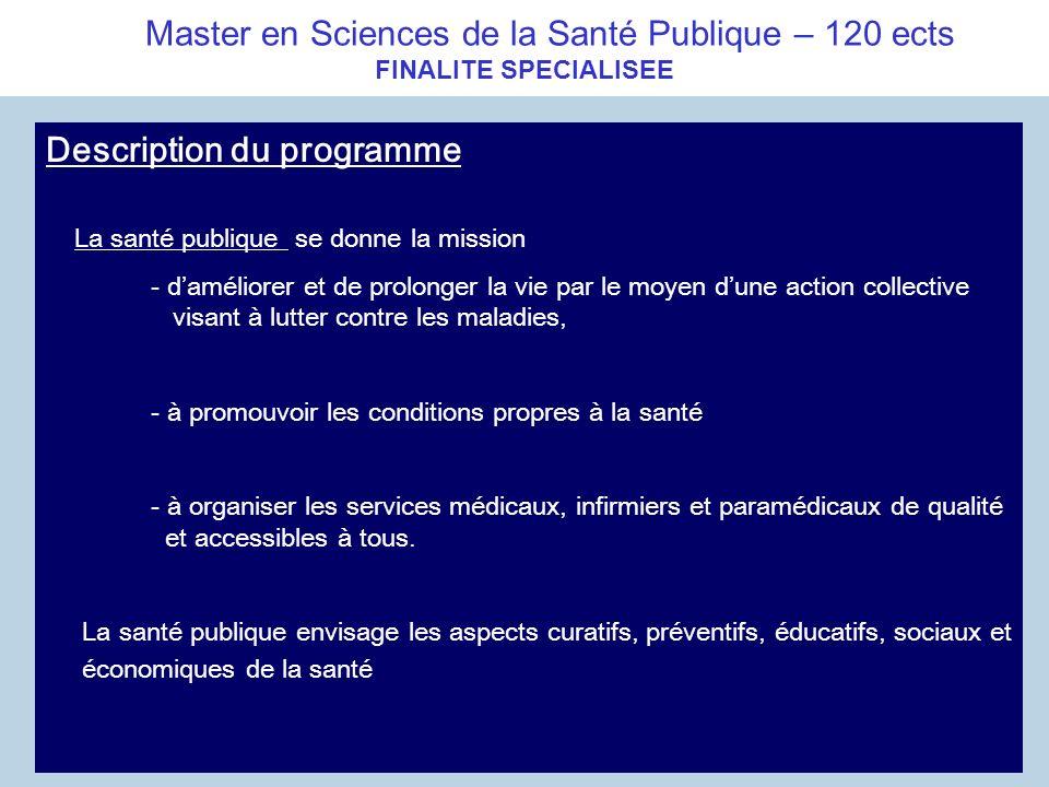 Master en Sciences de la Santé Publique – 120 ects FINALITE SPECIALISEE Description du programme La santé publique se donne la mission - daméliorer et