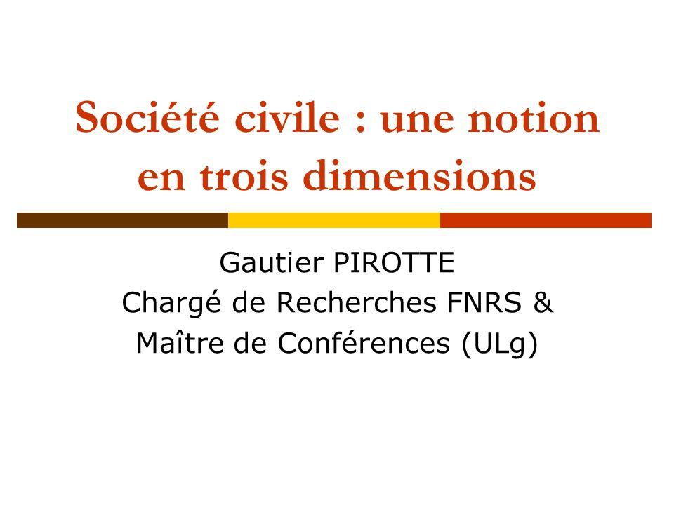 Deux conceptions dominantes de la société civile Société civile comme contre-pouvoir contestataire (ex.