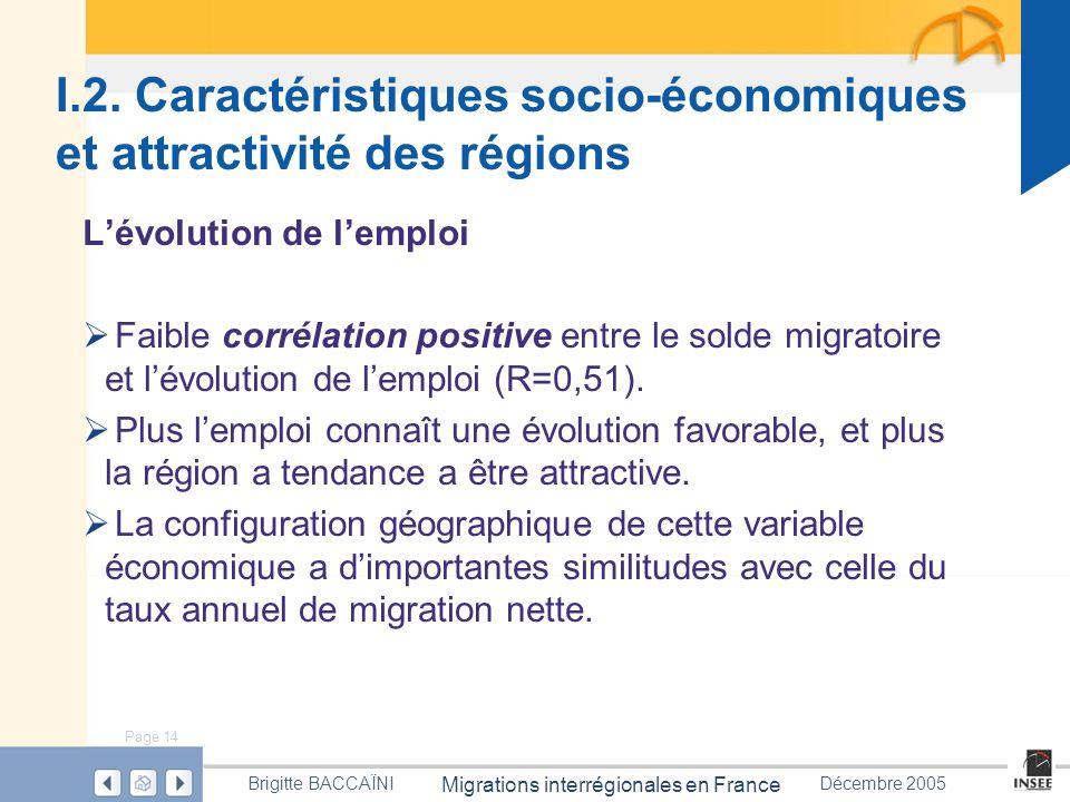 Page 14 Migrations interrégionales en France Brigitte BACCAÏNIDécembre 2005 I.2. Caractéristiques socio-économiques et attractivité des régions Lévolu