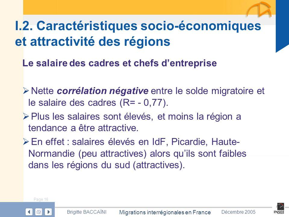 Page 16 Migrations interrégionales en France Brigitte BACCAÏNIDécembre 2005 I.2. Caractéristiques socio-économiques et attractivité des régions Le sal