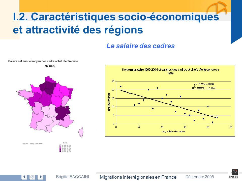 Page 17 Migrations interrégionales en France Brigitte BACCAÏNIDécembre 2005 I.2. Caractéristiques socio-économiques et attractivité des régions Le sal