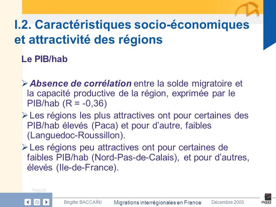 Page 20 Migrations interrégionales en France Brigitte BACCAÏNIDécembre 2005 I.2. Caractéristiques socio-économiques et attractivité des régions Le PIB