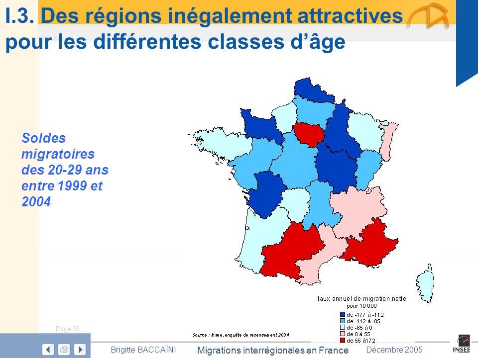 Page 32 Migrations interrégionales en France Brigitte BACCAÏNIDécembre 2005 I.3. Des régions inégalement attractives pour les différentes classes dâge
