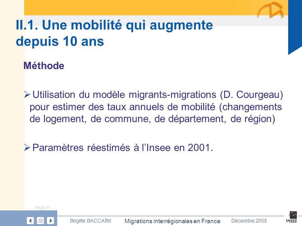 Page 37 Migrations interrégionales en France Brigitte BACCAÏNIDécembre 2005 Méthode Utilisation du modèle migrants-migrations (D. Courgeau) pour estim