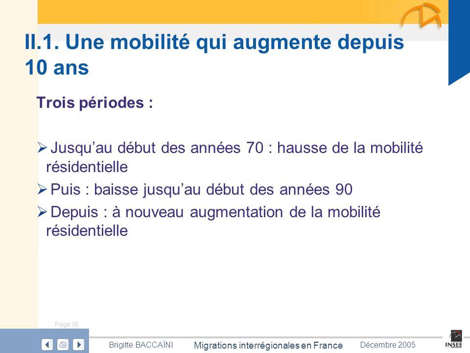 Page 38 Migrations interrégionales en France Brigitte BACCAÏNIDécembre 2005 Trois périodes : Jusquau début des années 70 : hausse de la mobilité résid