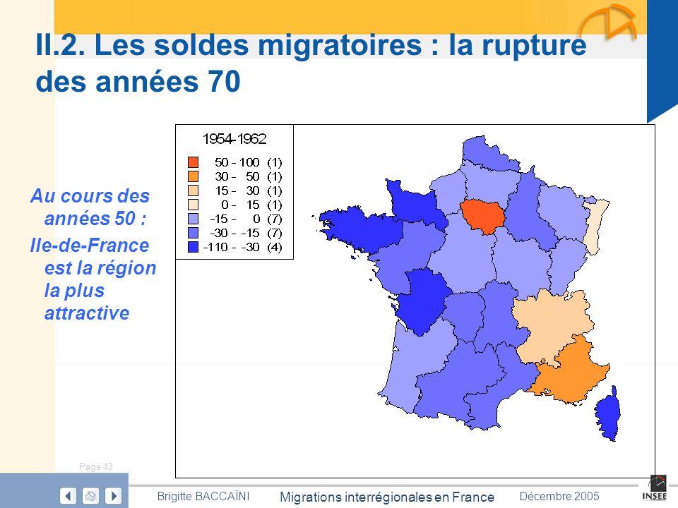 Page 43 Migrations interrégionales en France Brigitte BACCAÏNIDécembre 2005 II.2. Les soldes migratoires : la rupture des années 70 Au cours des année