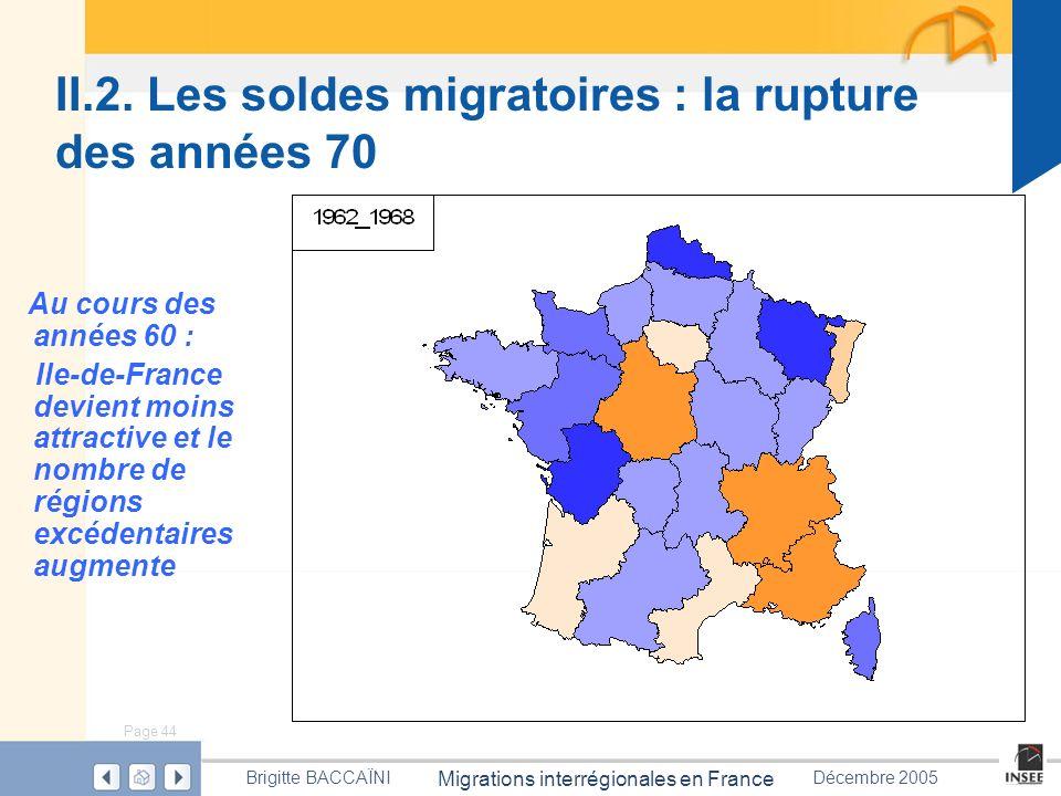 Page 44 Migrations interrégionales en France Brigitte BACCAÏNIDécembre 2005 II.2. Les soldes migratoires : la rupture des années 70 Au cours des année