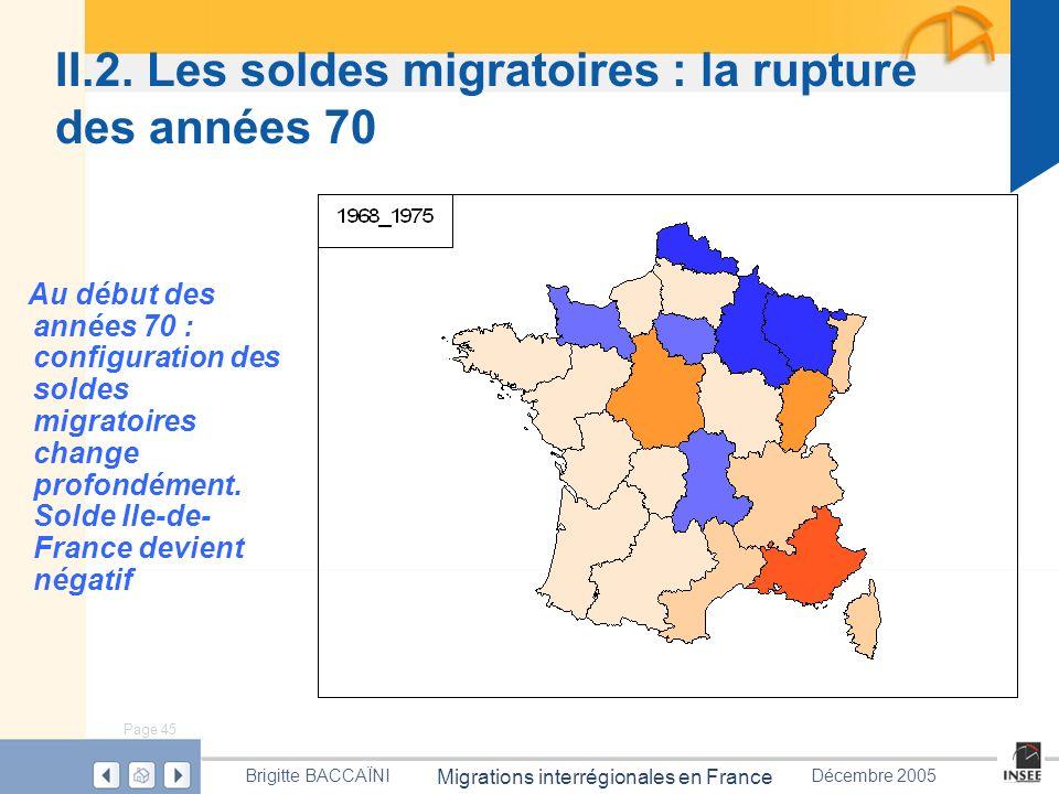 Page 45 Migrations interrégionales en France Brigitte BACCAÏNIDécembre 2005 II.2. Les soldes migratoires : la rupture des années 70 Au début des année