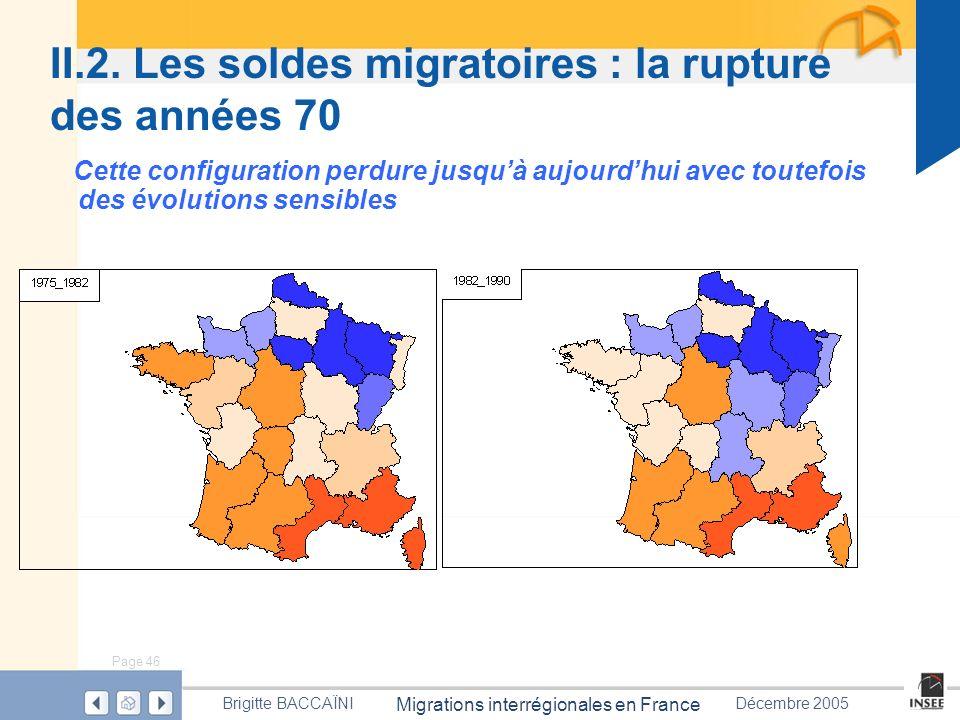 Page 46 Migrations interrégionales en France Brigitte BACCAÏNIDécembre 2005 II.2. Les soldes migratoires : la rupture des années 70 Cette configuratio