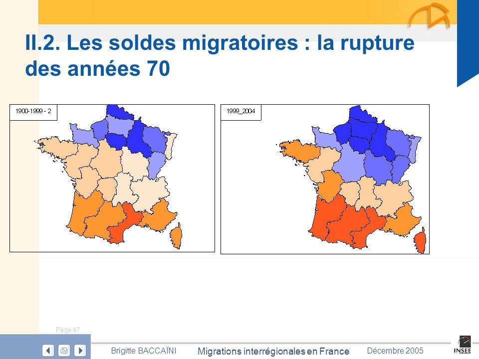 Page 47 Migrations interrégionales en France Brigitte BACCAÏNIDécembre 2005 II.2. Les soldes migratoires : la rupture des années 70