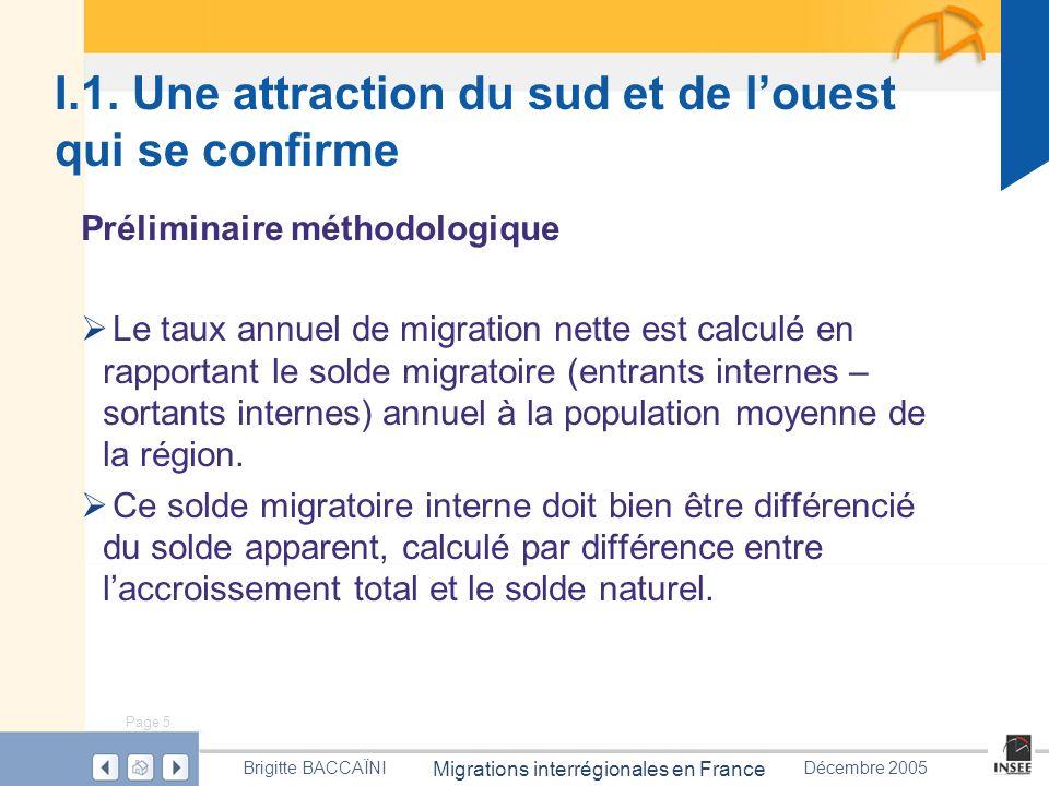 Page 5 Migrations interrégionales en France Brigitte BACCAÏNIDécembre 2005 I.1. Une attraction du sud et de louest qui se confirme Préliminaire méthod