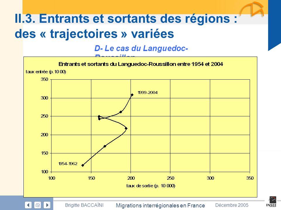 Page 51 Migrations interrégionales en France Brigitte BACCAÏNIDécembre 2005 II.3. Entrants et sortants des régions : des « trajectoires » variées D- L