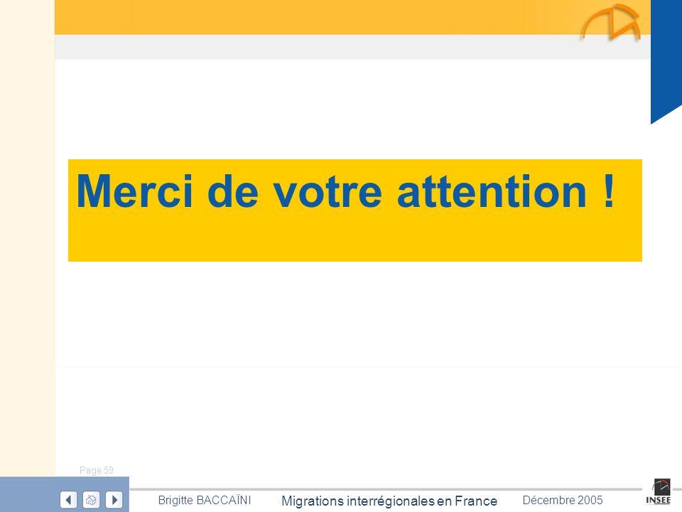 Page 59 Migrations interrégionales en France Brigitte BACCAÏNIDécembre 2005 Merci de votre attention !
