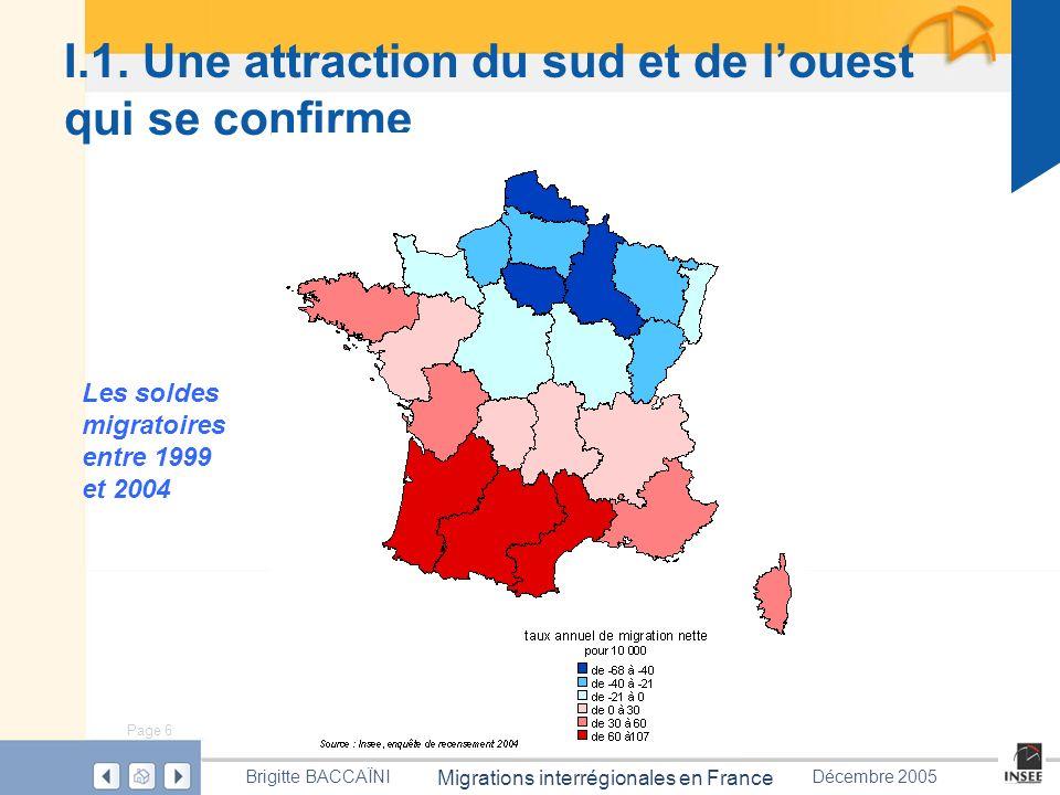 Page 6 Migrations interrégionales en France Brigitte BACCAÏNIDécembre 2005 I.1. Une attraction du sud et de louest qui se confirme Les soldes migratoi