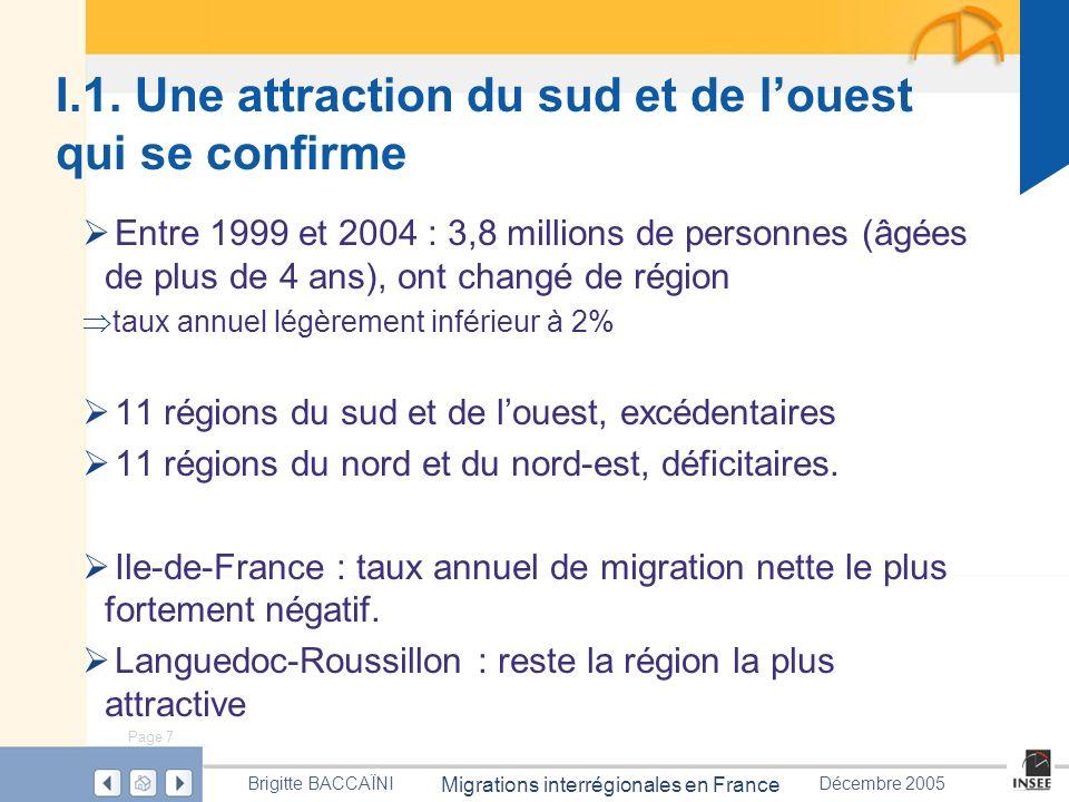 Page 7 Migrations interrégionales en France Brigitte BACCAÏNIDécembre 2005 I.1. Une attraction du sud et de louest qui se confirme Entre 1999 et 2004