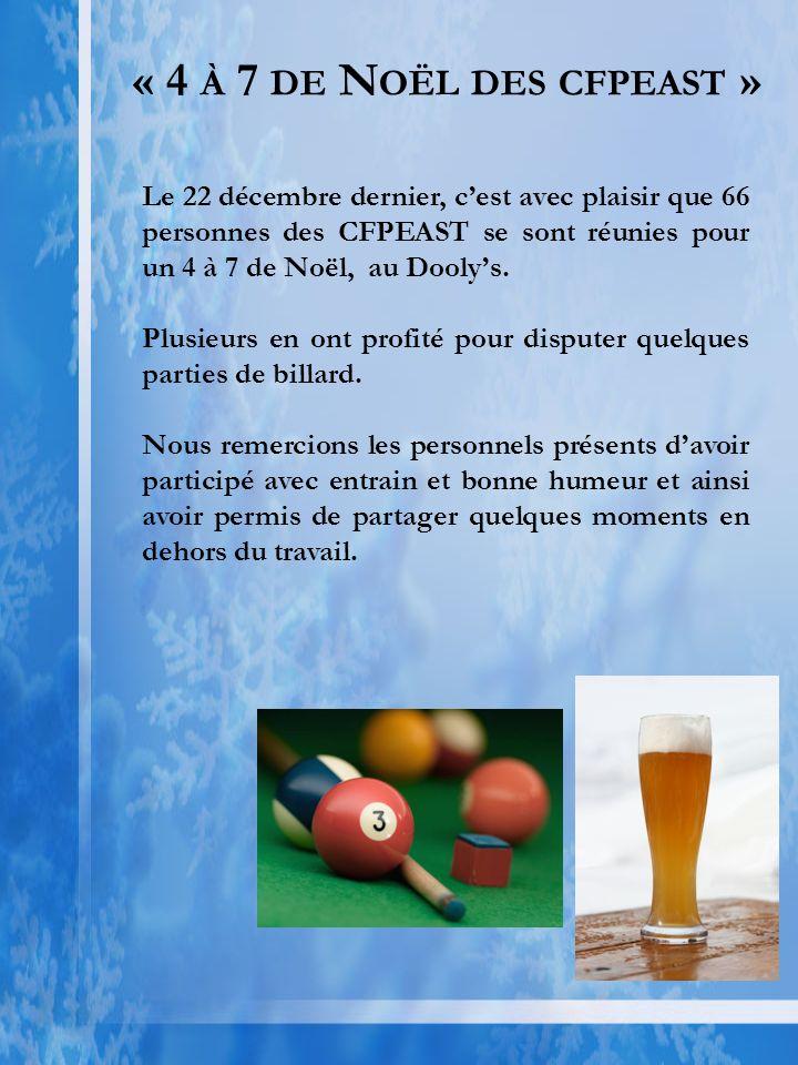 « 4 À 7 DE N OËL DES CFPEAST » Le 22 décembre dernier, cest avec plaisir que 66 personnes des CFPEAST se sont réunies pour un 4 à 7 de Noël, au Doolys.