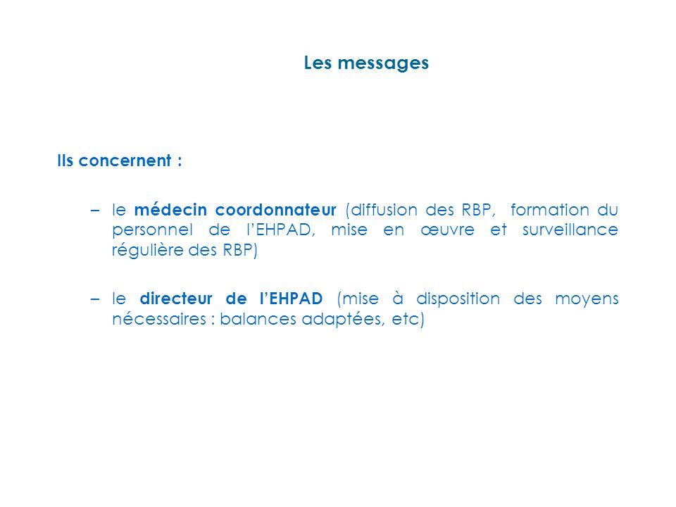 Les messages Ils concernent : –le médecin coordonnateur (diffusion des RBP, formation du personnel de lEHPAD, mise en œuvre et surveillance régulière des RBP) –le directeur de lEHPAD (mise à disposition des moyens nécessaires : balances adaptées, etc)