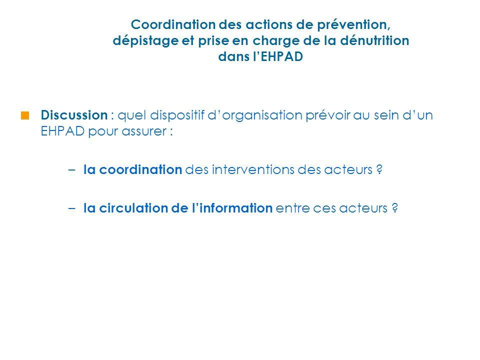 Coordination des actions de prévention, dépistage et prise en charge de la dénutrition dans lEHPAD Discussion : quel dispositif dorganisation prévoir au sein dun EHPAD pour assurer : – la coordination des interventions des acteurs .