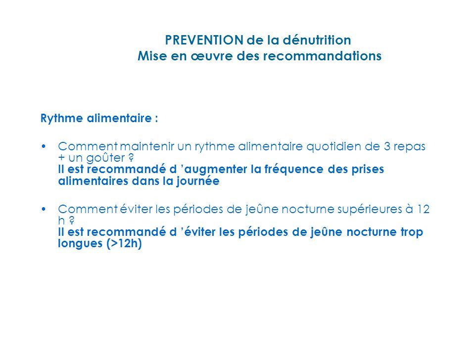 PREVENTION de la dénutrition Mise en œuvre des recommandations Quels sont les autres facteurs influençant la prise alimentaire.