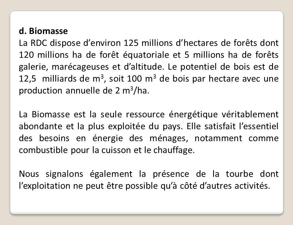 d. Biomasse La RDC dispose denviron 125 millions dhectares de forêts dont 120 millions ha de forêt équatoriale et 5 millions ha de forêts galerie, mar