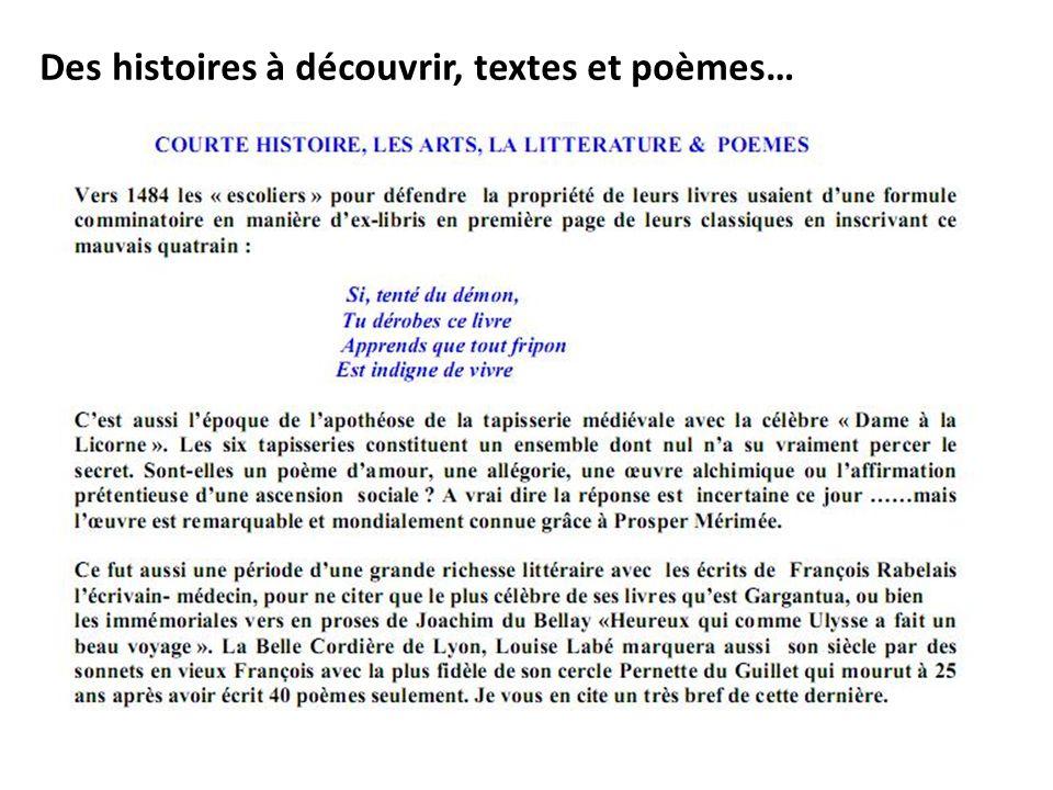 Les arts du langage : littérature (récits et poésies)