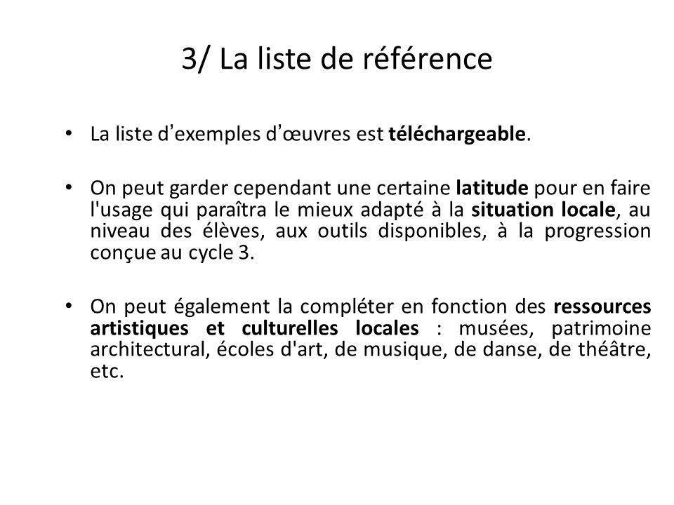 3/ La liste de référence La liste dexemples dœuvres est téléchargeable.