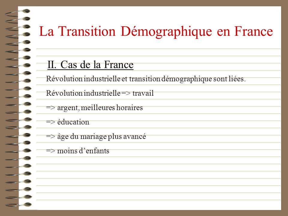 La Transition Démographique en France II. Cas de la France Révolution industrielle et transition démographique sont liées. Révolution industrielle =>