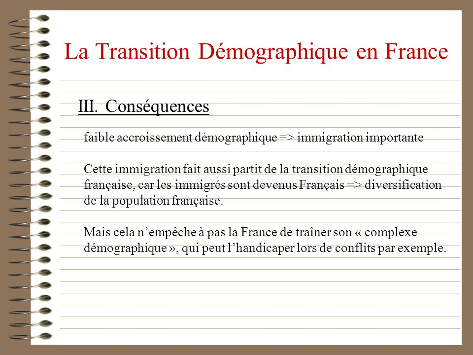 La Transition Démographique en France III. Conséquences faible accroissement démographique => immigration importante Cette immigration fait aussi part